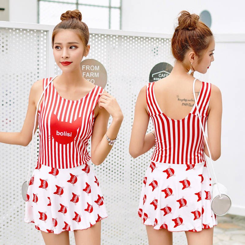 Korean-style Swimsuit Women's Large Size Small Bust Gathering-Students Conservative Boxers One-piece Belly Covering Slimming Swi