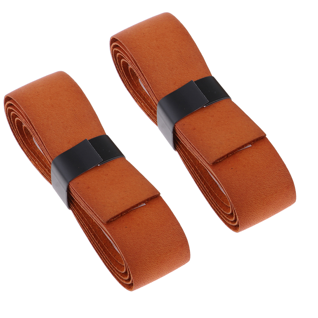 2x Leather Handle Grip Tape Cover Tennis/Badminton/Squash Racket, Dark Brown