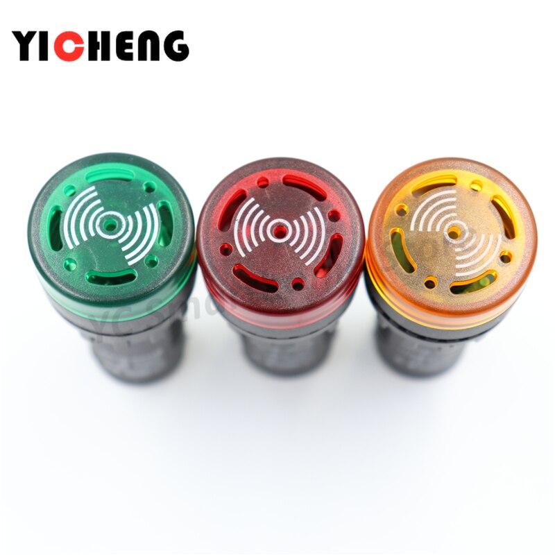 2PCS 24V AD16-22SM 22mm Red LED Flash Alarm Indicator Light Lamp with Buzzerr