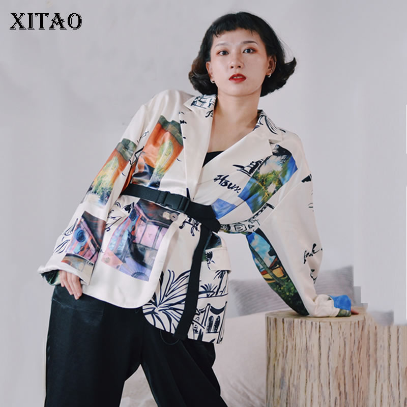 XITAO Vintage Women Blazers And Jackets Fashion Lazy Oaf Blazer Feminino Trend Printing Leisure Coat Women Spring 2020  XJ3517