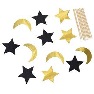 Image 4 - Eid Mubarak kek Topper dize Glitter gümüş altın siyah ay yıldız Garland Bunting ramazan İslam müslüman olay parti malzemeleri