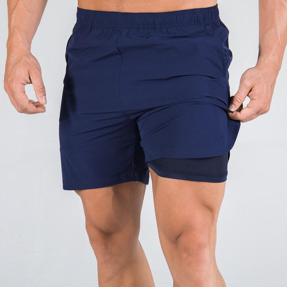 Running Sport Shorts Men 2 In 1 Double Layer Short Pants Gym Fitness Jogging Bermuda Black Bottoms Summer New Male Beach Shorts