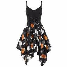 Halloween Dress Women Casual V-Neck Sleeveless Pumpkin Print Mini Summer Party Irregular Beach vestidos