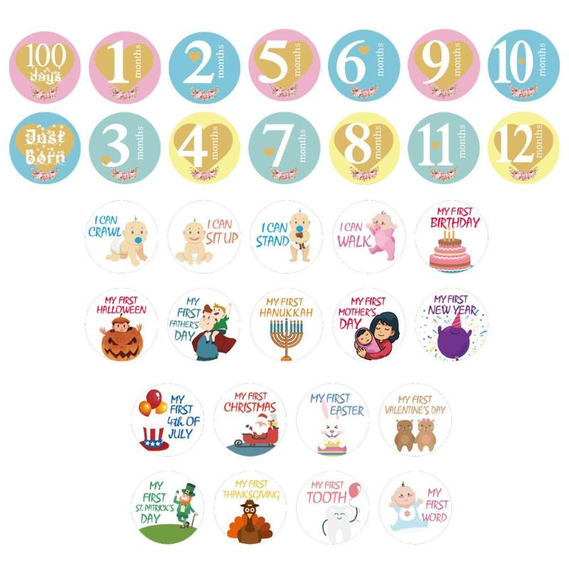 20pcs Newborn Baby Boy Girl Belly Stickers Cartoon Tights Round Month Stickers Number Letter Photo Props Accessories