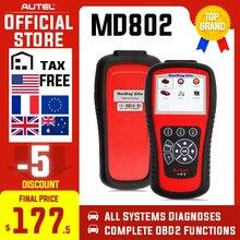 Autel md802 obd2 scanner eobd ferramenta de verificação para transmissão do motor abs airbag epb óleo serviço redefinir código leitor ferramenta diagnóstico