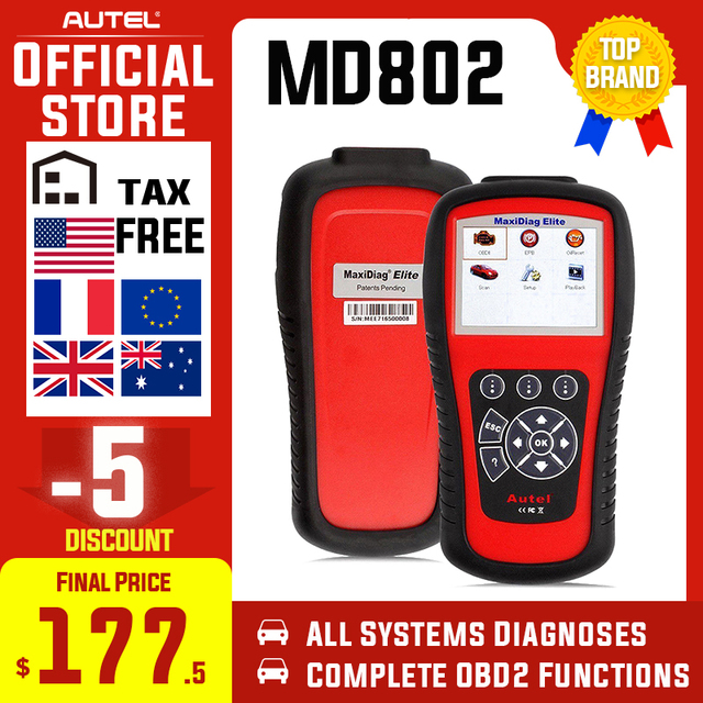 Outil de Diagnostic de lecteur de Code de réinitialisation de Service dhuile depb dairbag dabs dautel MD802 OBD2 Scanner EOBD pour la Transmission de moteur
