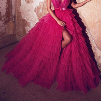 Hot Pink Puffy High Side Split Ruffles Tulle Skirt Women Tiered A line Bridal Tulle Skirts Zipper With Bow Saias