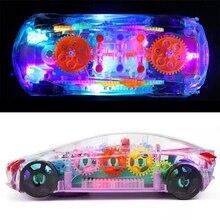 Toy Light Electric Music Car Cartoon Mechanical-Concept Universal-Gear Transparent Colorful