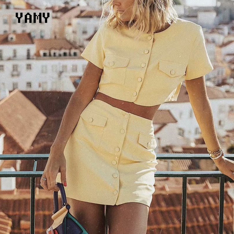 Summer New Womens Casual Cropped Blazers High Waist Botton Up Mini Skirt Set With Pockets Chic Female Cute Yellow Set Green 2020