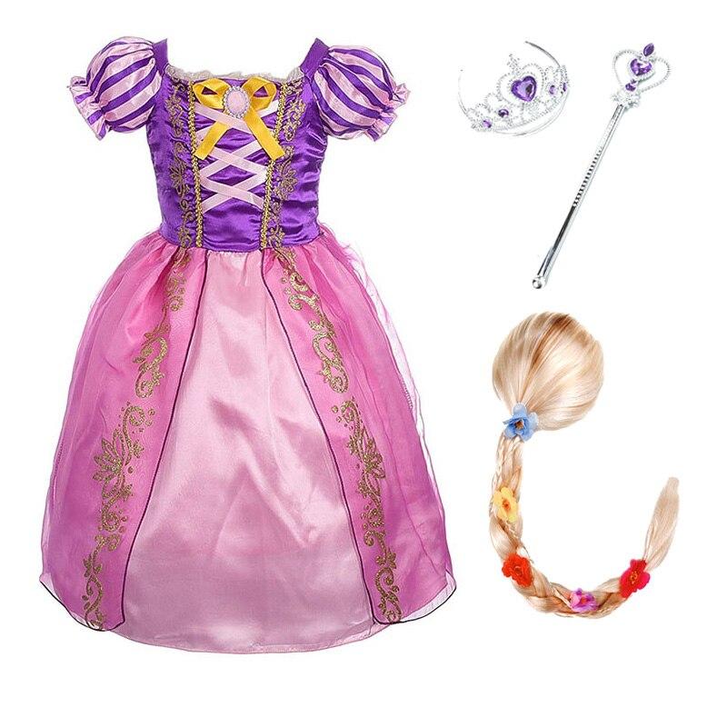 Girls Rapunzel Princess Dress Kids Summer Floral Costume With Bow Wig Children Halloween Birthday Party Cosplay Dress
