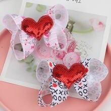 """1 шт 3 """"милые банты для волос детские заколки с милым сердцем"""