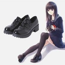 日本人学生靴女子大生靴 JK 通勤制服靴 Pu レザー Cospaly の靴