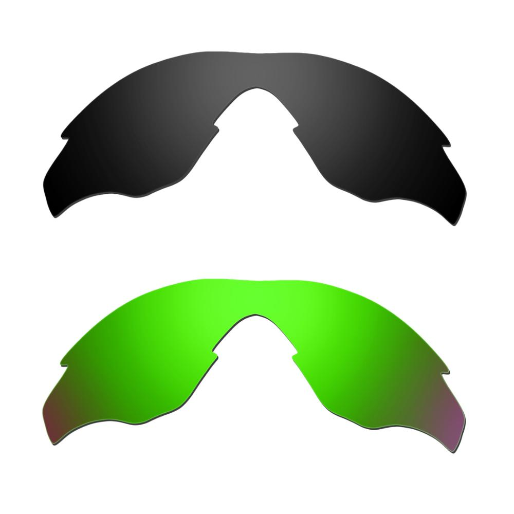 HKUCO For M2 Sunglasses Replacement Polarized Lenses 2 Pairs - Black & Green