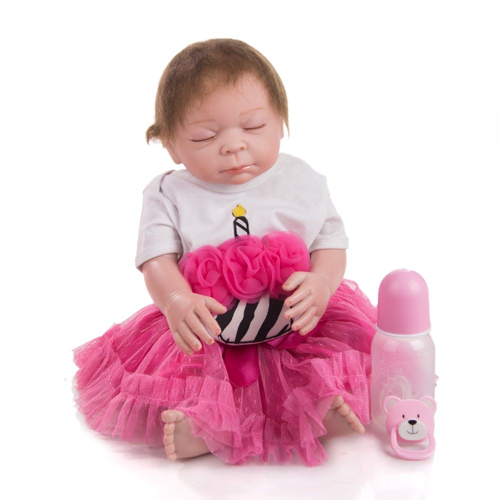 girl doll Silicone Reborn Baby Dolls With closed eyes 50 CM Baby Reborn Realisting DIY Boneca Kids Playmate Toddler Surprise gif