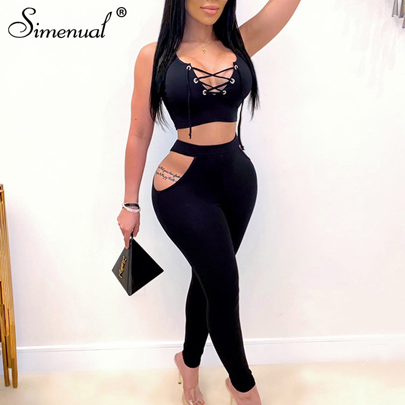 Simenual Lace Up Sleeveless Bodycon Two Piece Set Women Hollow Out Party Club Skinny Fashion Outfits Hot Tank Top And Pants Sets