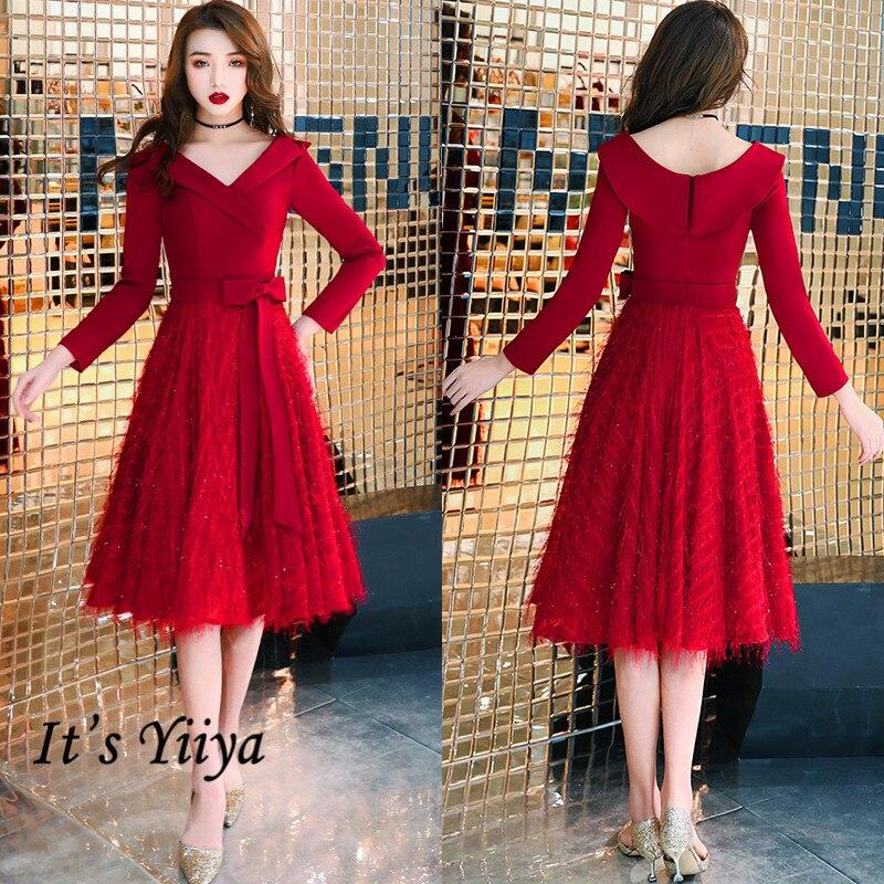 It's Yiiya Burgundy Evening Gown Long Sleeve Zipper Patchwork Short Evening Dress 2020 Plus Size V-Neck Bow Robe De Soiree K317