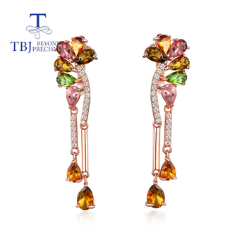 TBJ,100% Natural Colorful 7ct tourmaline party earring 925 sterling silver  gemstone fine jewelry for women wife nice gift