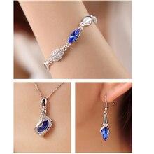 925 conjunto de jóias de prata esterlina presente de aniversário moda jóias de cristal de luxo conjunto de jóias de prata esterlina