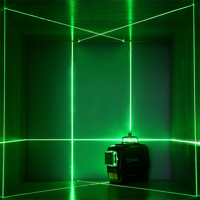 DEKO DC Series 12 Lines 3D Green Laser Level Horizontal And Vertical Cross Lines With Auto Self-Leveling, Indoors and Outdoors 5