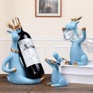 3 pçs/set Cremalheiras Do Vinho Cerveja Alce Veados Titular Suporte para Garrafa de Uísque Vinho Tinto Estatuetas Em Miniatura Em Pé Armário do Vinho Decoração Da Sua Casa