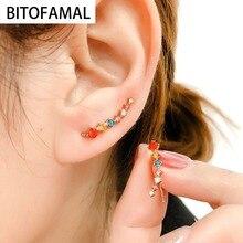Women Earrings Clip Jewelry Pierced Cubic-Zirconia Ear-Hook Elegant Fashion 1pcs Alloy