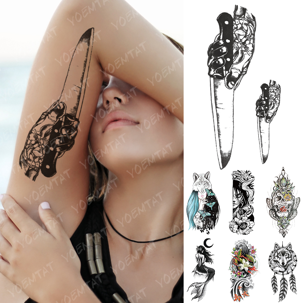 Waterproof Temporary Tattoo Sticker Knife Skull Moth Flash Tattoos Mermaid Dreamcatcher Wolf Body Art Arm Fake Tatoo Women Men
