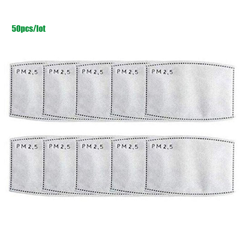 50pcs/Lot Replaceable PM2.5 Filter Paper Anti Haze Mouth Mask Anti-smog Mask Filter Paper Health Care For Men Women