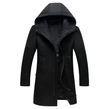 New Men's Woollen Overcoat Winter Male Business Casual Hooded Wool Pea Coat Men Brand Overcoat Casaco Masculino BG1812