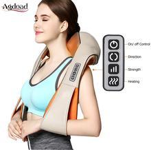 U Shape Shiatsu Shoulder Massager Electrical Back Neck Body Infrared Heated Kneading for Home Car Massagem Health Care EU plug