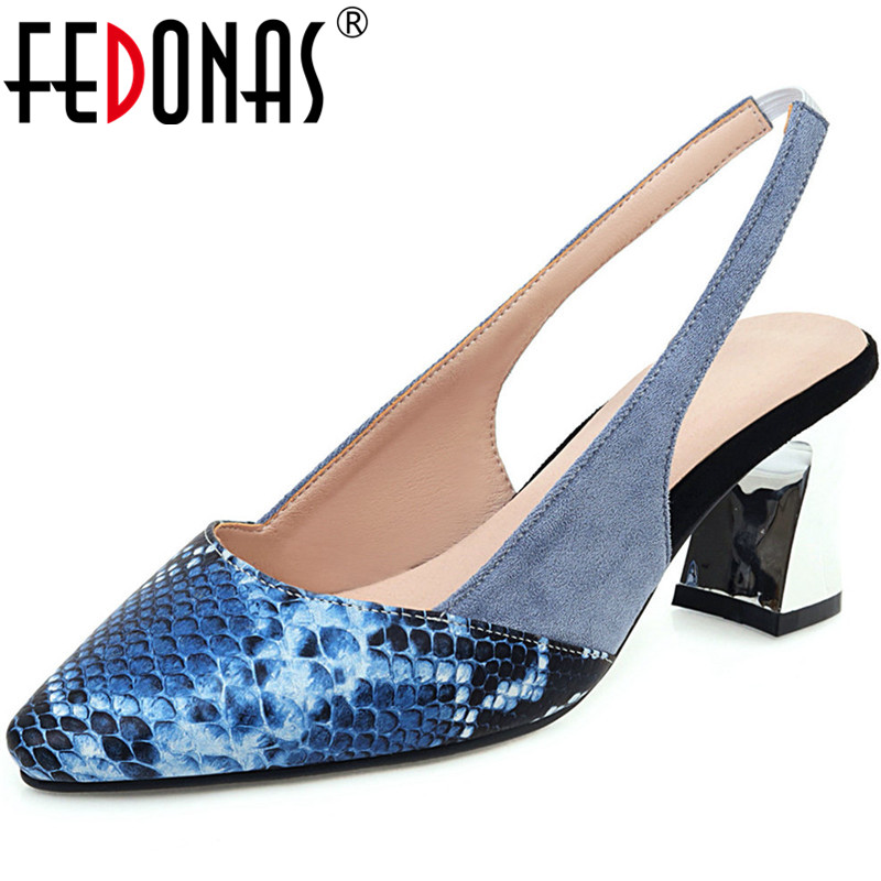FEDONAS Mixed Colors Sexy Sandals For Women Back Strap Pointed Toe High Heels Pumps Summer Quality Working Basic Shoes Woman