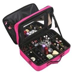 Lhlysgs Met Spiegel Cosmetische Tas Koffers Multi Verdiepingen Grote Professionele Cosmetische Case Vrouwen Beauty Organisator Make-Up Tas