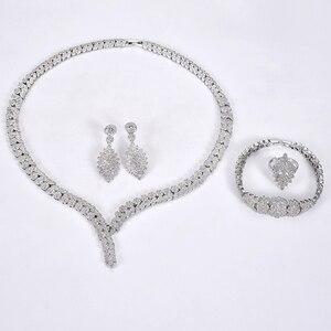 Image 5 - תכשיטי סט HADIYANA קסם שרשרת עגילי טבעת צמיד מתנת כלה חתונה אלגנטית לנשים באיכות גבוהה CNY0046 Bisuteria