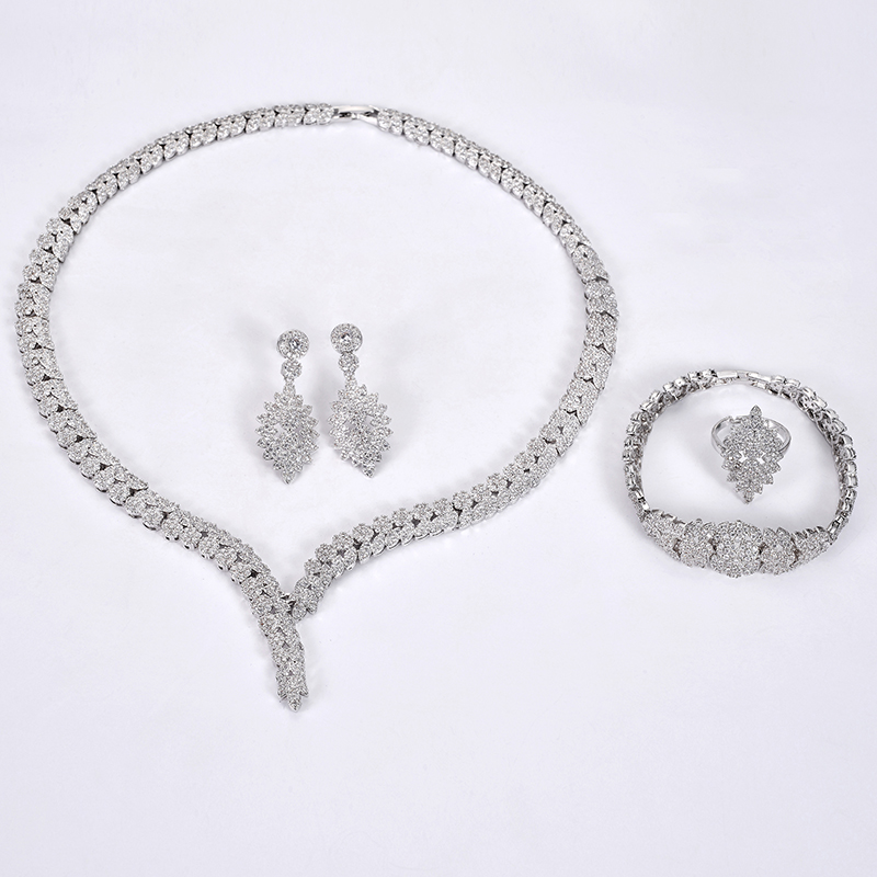 Image 5 - Jewelry Set HADIYANA Charm Necklace Earrings Ring Bracelet Gift 