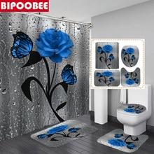 3D kelebek çiçek kumaş su geçirmez duş perdesi banyo perdesi seti mavi gül kaymaz halı tuvalet kapak ve banyo mat