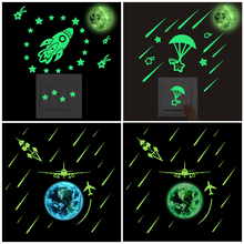DIY Luminous meteor shower Earth Moon Wall Stickers For Kids Rooms Wall Stickers Home Decor Living Room Glow In The Dark Stars 5cm luminous moon earth cartoon diy 3d wall stickers for kids room bedroom glow in the dark wall sticker home decor living room