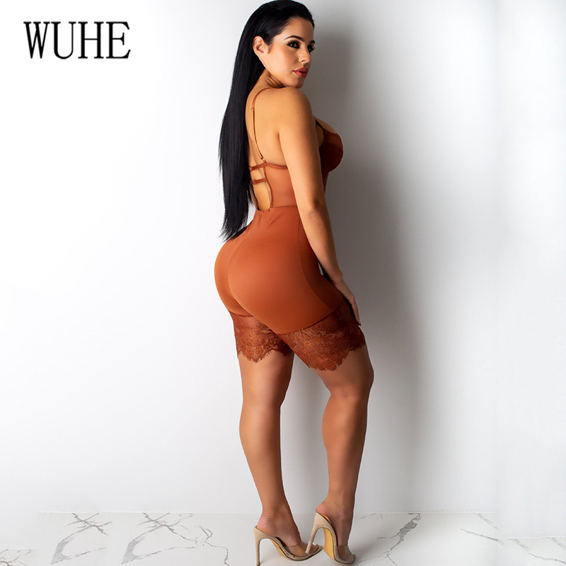 H60ccdf0210204f8887a634b733faf0d2h - WUHE Lace Patchwork Sexy Spaghetti Strap Jumpsuits Women Off Shoulder Sleeveless Elegant Bodycon Bandage Party Short Playsuits