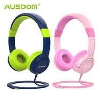 Ausdom k1 crianças fones de ouvido 85db criança volume seguro proteção auditiva macio earmuffs sobre a orelha presente para crianças menina menino com fio fone ouvido