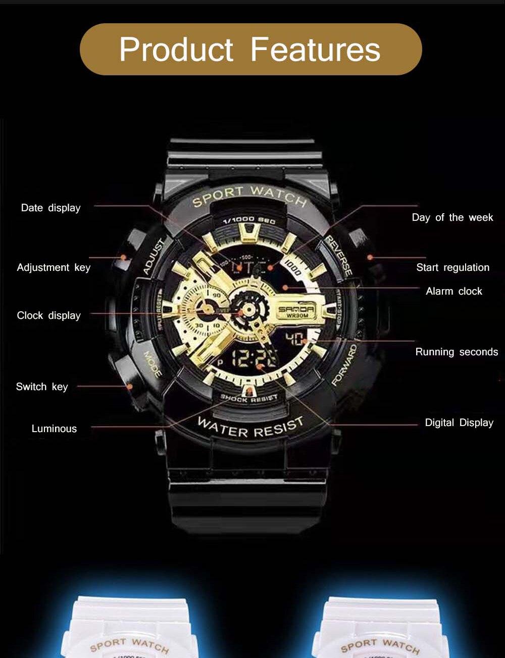 H60cd132f24704779a8f50fe3e6809194I 2020 SANDA Military Men's Watch Brand Luxury Waterproof Sport Wristwatch Fashion Quartz Clock Couple Watch relogio masculino