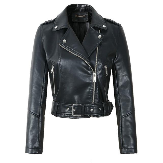 FTLZZ Women Faux Soft Leather Short Jacket Rivet Epaulet Zipper Pu Motorcycle Basic Jackets Female Red Black Outerwear With Belt 2