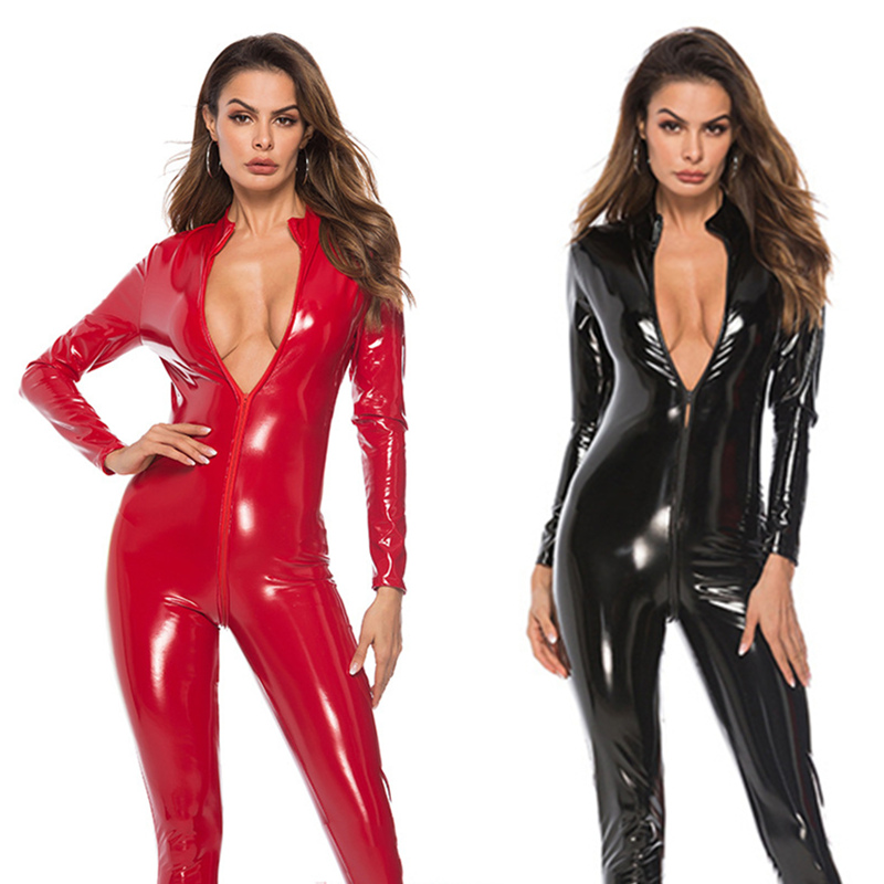 Body Suit Sexy Latex Bodysuit Double Zipper Open Crotch Nightclub Dance Wear Leather Sexy Lingerie Erotic Catsuit For Sex 5 Size