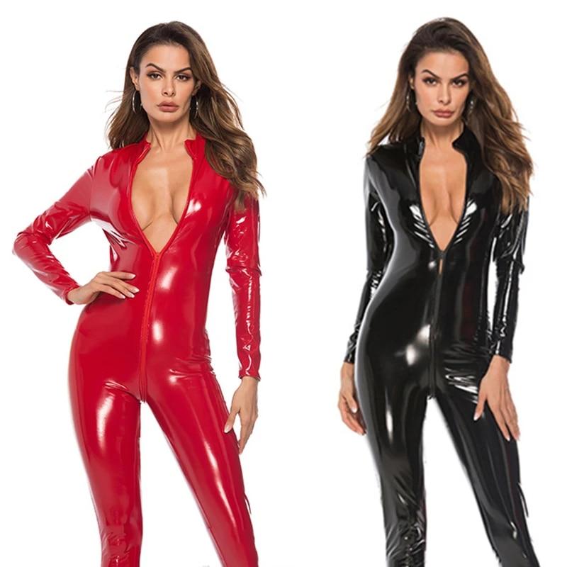 Sex in latex suit