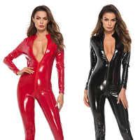 Körper Anzug Sexy Latex Body Doppel-reißverschluss Öffnen Gabelung Nachtclub Dance Tragen Leder Sexy Dessous Erotische catsuit für sex 5 größe