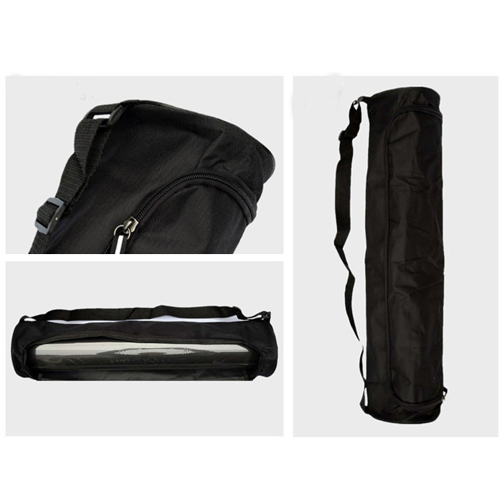 Polyester Foldable Yoga Mat Bag Waterproof Storage Side Opening Zip Pocket Black Portable Multifunctional Bags
