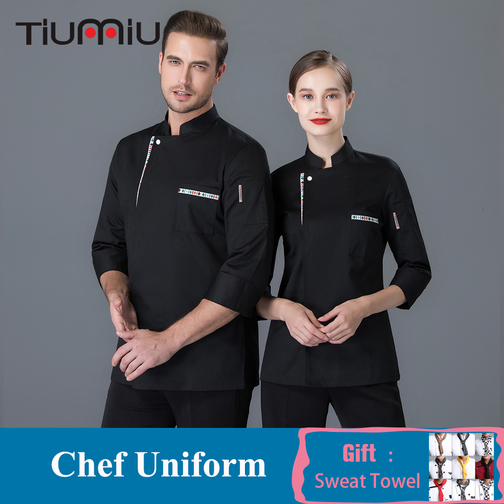 Chef Jacket Long Sleeve Ribbon Restaurant Uniform Shirt Kitchen Cook Waiter Baker Work Clothes Coffee Shop Barber Chef Coat