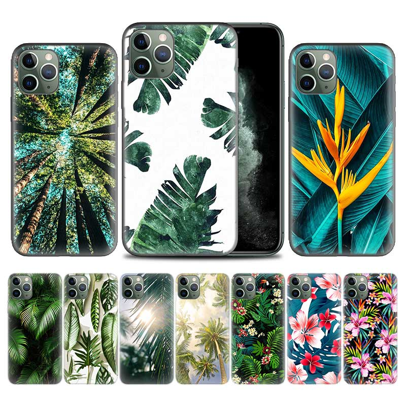 Tropical rain forest flower floral sea Case for Apple iphone 11 Pro XS Max XR X 7 8 6 6S Plus 5 5S SE 5C Soft TPU Phone Cover Co