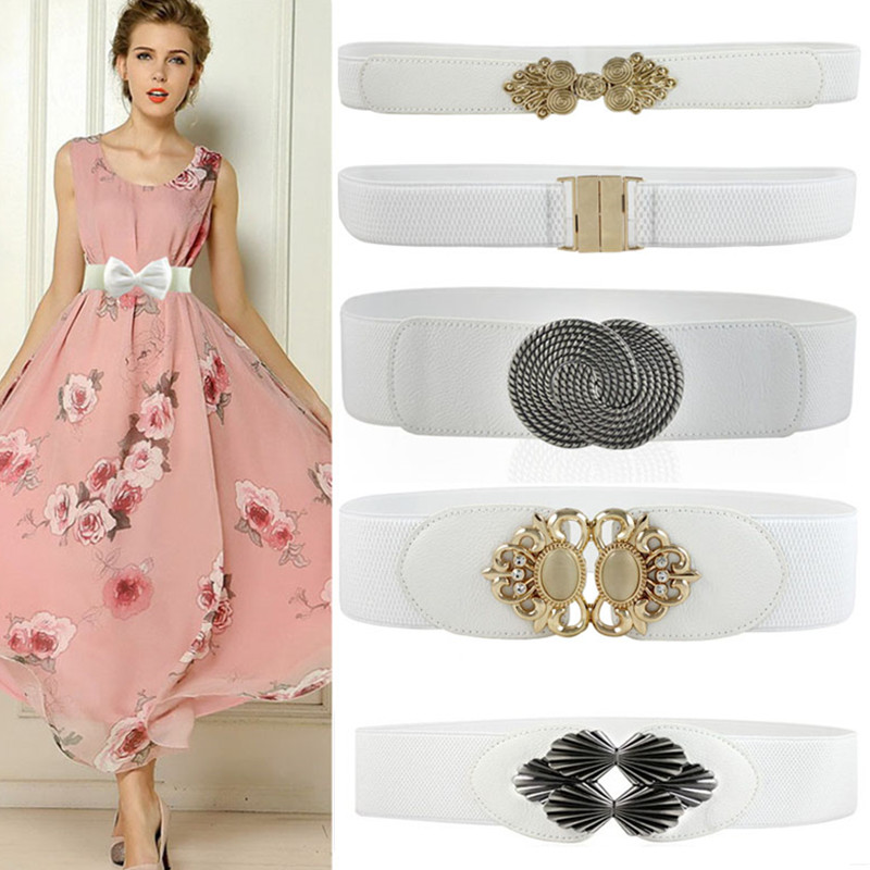 Fashion White Skinny Thin PU Leather Belt For Women Elastic Waistband Female Gold Buckle Cummerbunds For Dress Party Accessories