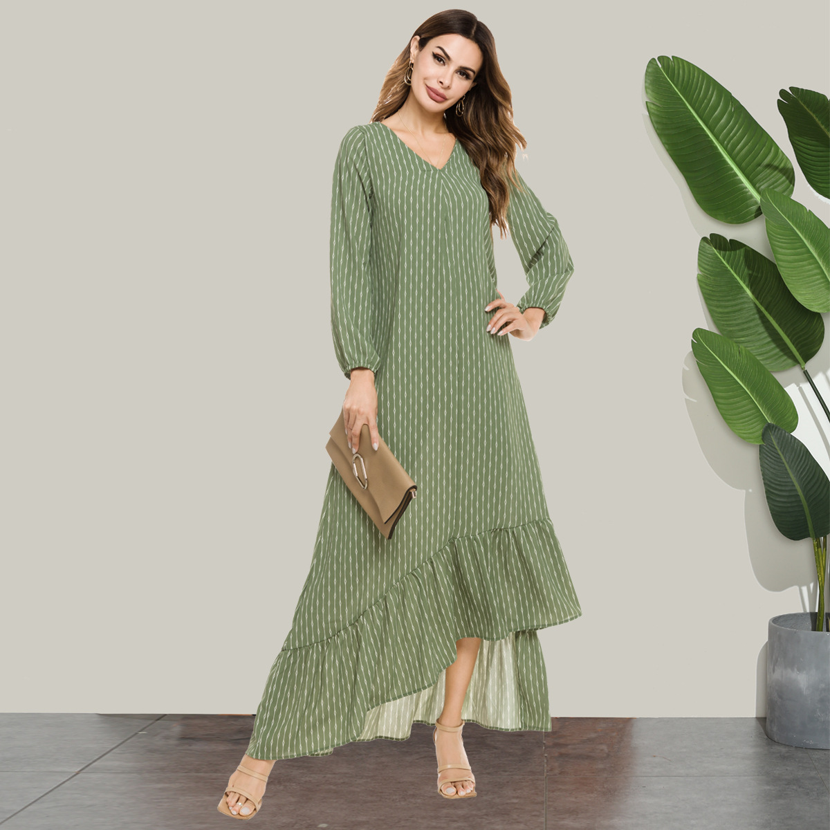 Fashion Autumn Women Dress V-neck Irregular Striped Prints green vestidos muslim abaya islamic clothing party night vestidos
