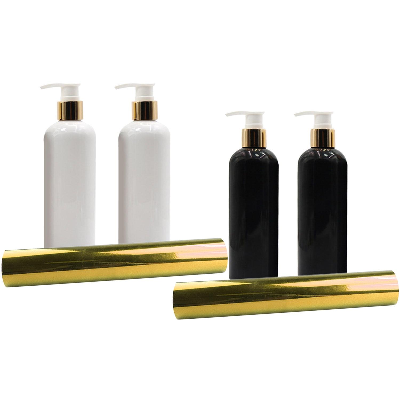 Behogar 2PCS 300ML Empty Liquid Soap Shampoo Shower Gel Lotion Storage Bottle Organize Dispenser + 1PCS Holographic Vinyl Sheet