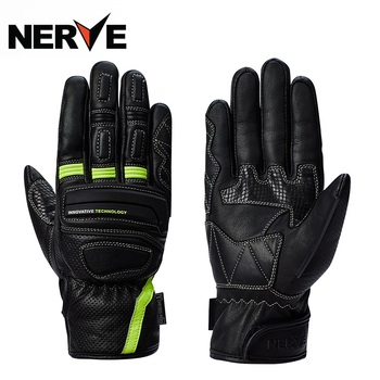 2019 New Knight protection NERVE WINDPROOF Motorcycle Glove Cowhide Leather Motorbike Gloves Anti-fall Wear-resistant Size S-XXL