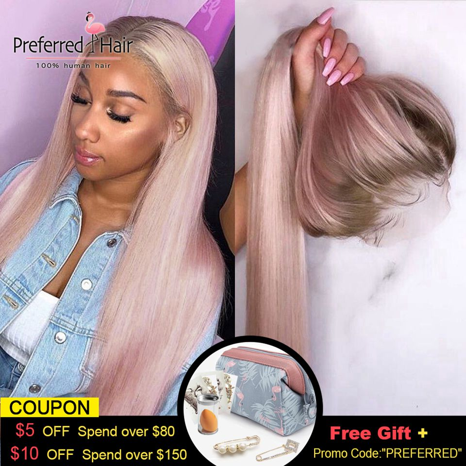 Preferred Ombre Pink Human Hair Wig Purple Straight Lace Front Wig With Baby Hair Brazilian Remy Transparent Lace Wigs For Women